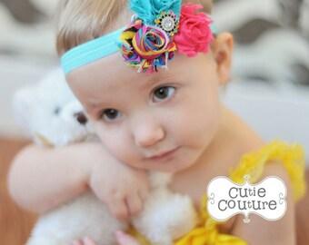 MORE COLORS-Boutique Style-Shabby Chic-Flower Headband-Rainbow-Turquoise Headband-Hot Pink Headband-shabby chic