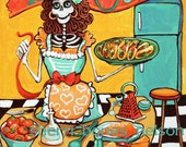 Kitchen Catrina Art Print. Mexican Food Poster. Pinup Skeleton Art. Red Orange Fun funky kitchen decor. Taco Art. Day of the Dead Art
