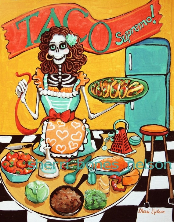 Kitchen Catrina Art Print. Mexican Food Poster. Pinup Skeleton