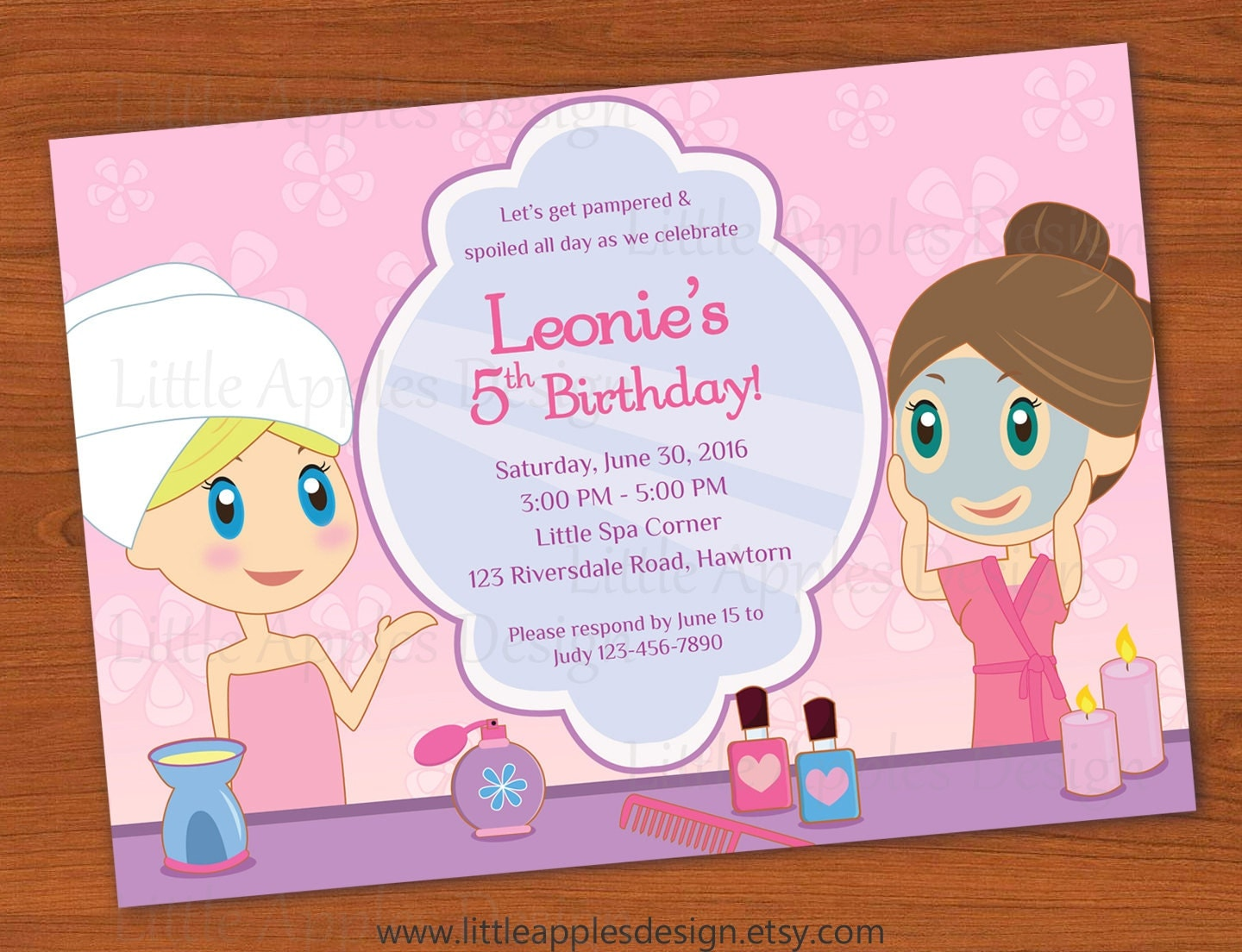 Kids Spa Party Invitation Girls Spa Party invitation Spa – Kids Spa Party Invitations