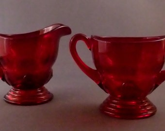 Vintage 1930's New Martinsville Moondrops Sugar and Creamer Ruby Red.  Perfect
