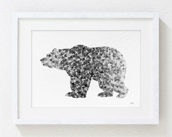 Bear Art Watercolor Painting - 5x7 Archival Print - Grizzly Bear Print - Black and White Art Print - Geometric Art - Silhouette Art