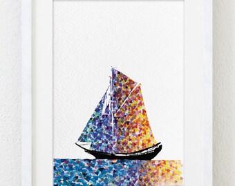 Watercolor Print - 5x7 Archival Print -  Sailboat Art - Eastern Sun Rise Painting, Boat Art Print - Wall Decor Art Home Decor Housewares