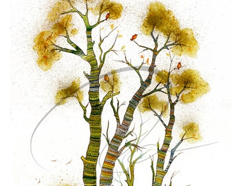 Cozy Comfort - Watercolor Art Giclee Print Yarn Bombing Autumn Birch Tree Bark Painting Available in Paper and Canvas by Olga Cuttell