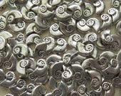 10x5x2mm (1mm hole) Antique Silver Ammonite Base Metal Beads - Qty 10 (G223)