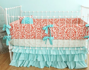 Coral Breeze - Damask and Ruffles Crib Bedding Set