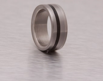 Titanium Ring Man Ring mens wedding band wood ring with ebony and titanium ring
