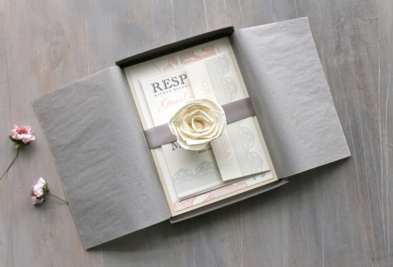elegant boxed wedding invitations romantic luxury wedding invitations blush and gray wedding ruffled romance box invite sample - Luxury Wedding Invitations
