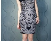 Clearance- Filigree Art Nouveau MINI Dress by Carousel Ink - T Dress Black Grey Cap Sleeve Dress  Cap sleeve pencil skirt Dress