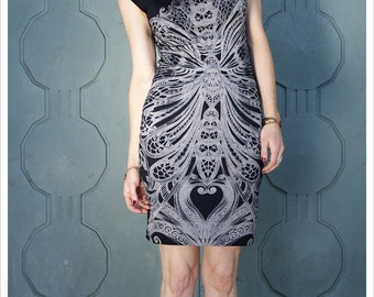 Filigree Art Nouveau Mini Dress by Carousel Ink - T Dress - Black Grey Cap Sleeve Dress - Cap sleeve pencil skirt Dress