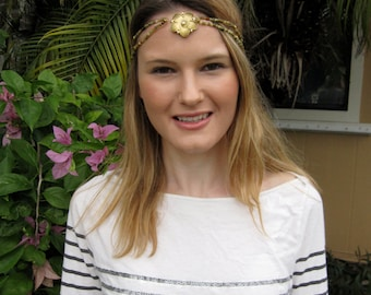Olive Green and Gold Beaded Double Strand with Flower Center Elastic Halo Headband, for weddings, parties, special occasions