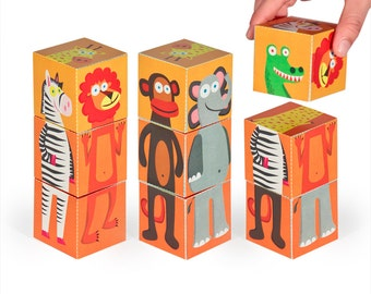 Jungle Animals Blocks - PRINTABLE PDF Toy - DIY Craft Kit Paper Toy - 3 paper blocks - Heads, Arms and Legs  - Birthday Party Favor