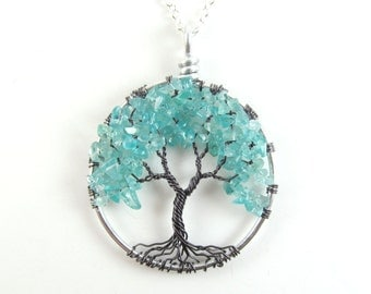 Tree of Life Necklace- Mystic Beauty- Apatite,  Black, Gray Gunmetal, Silver, Teal, Aqua, Blue