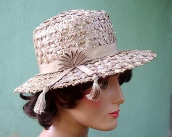 1960s Raffia Hat / Vintage 60s Hat / 1960s Fashion / Taupe Hat / Champagne Hat