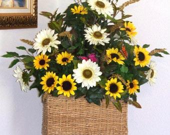 Sunflower basket, Floral basket, Summer centerpiece, Summer decorations, Summer decor,  Flower basket, Wicker flower basket, Thank you gift