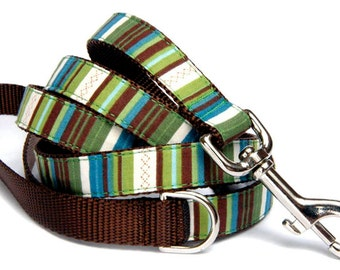 Stripe dog leash Cotton 100% stripe fabric on nylon pet leash small dog large dog Dog collar & dog harness are available