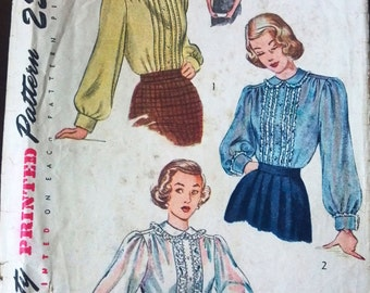 Simplicity 2621 Pattern for Misses' Blouse, Size 14, Circa 1950s
