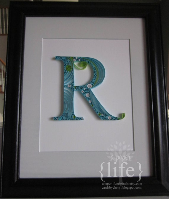 quilled monogram letter // custom order by APaperLifeOriginals