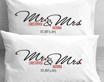 Personalized Mr and Mrs Pillow Cases Wedding Newlyweds Engagement gifts for a Couple Wife Husband