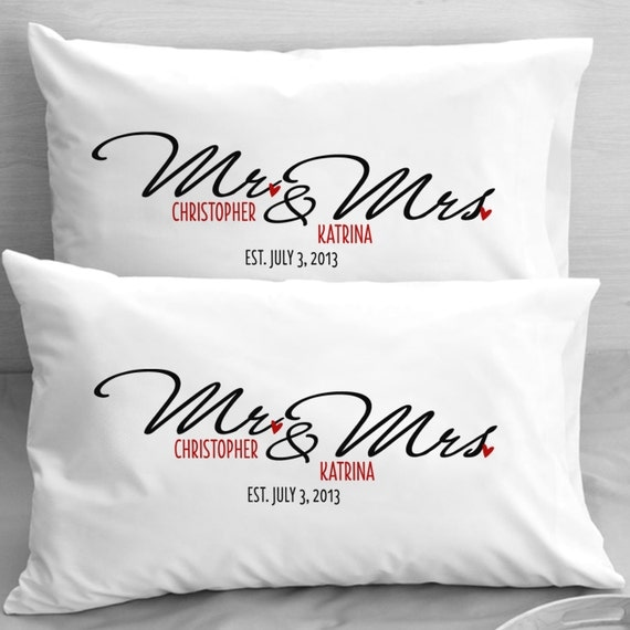 Monogrammed Wedding Gift Ideas: Items Similar To Personalized Mr And Mrs Pillow Cases