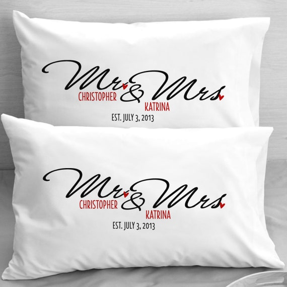 Mr And Mrs Gift Ideas: Items Similar To Personalized Mr And Mrs Pillow Cases