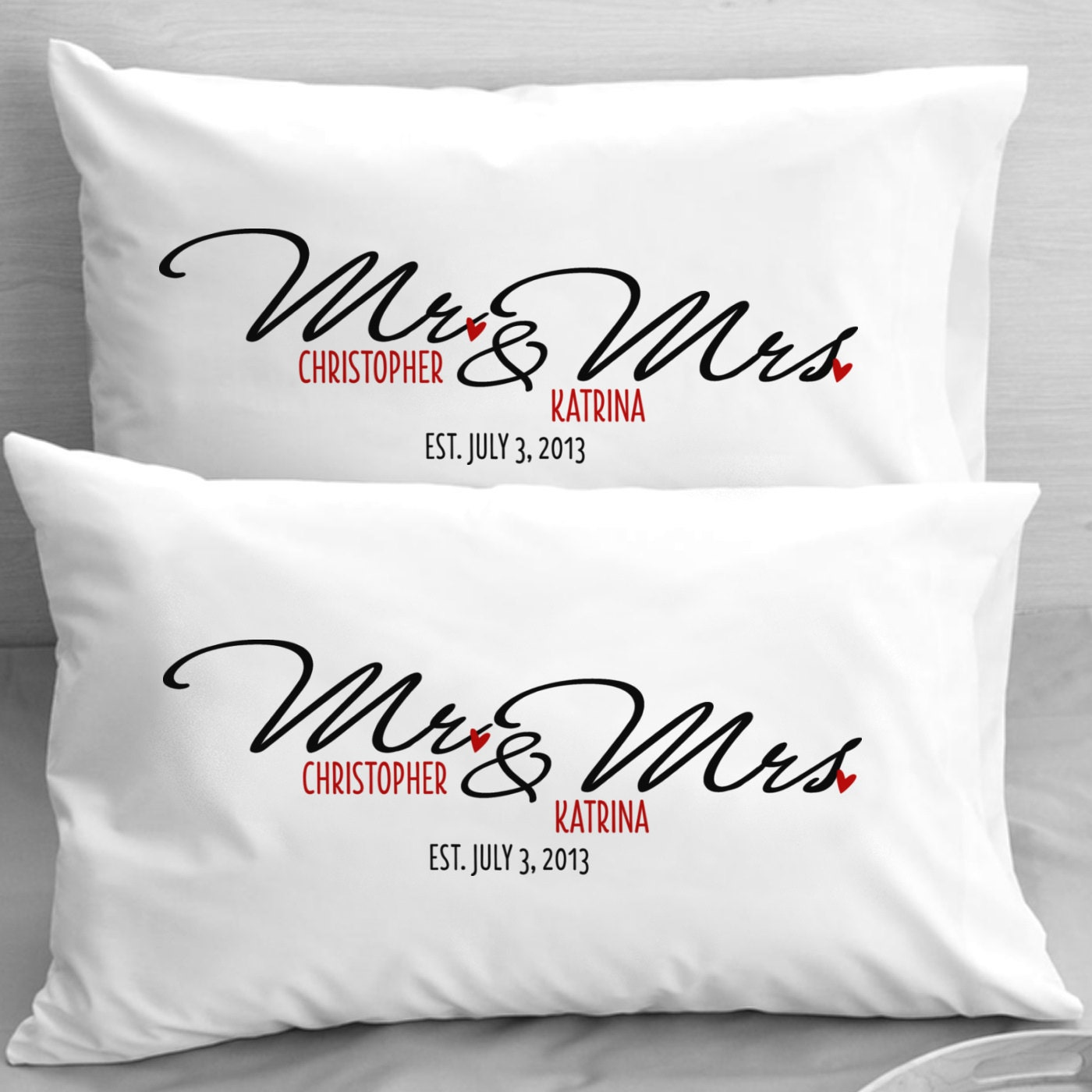 Unique Gifts For Husband On Wedding Day: Personalized Mr And Mrs Pillow Cases Wedding Newlyweds