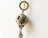 Bronze Filigree Hot Air Balloon & Citrine Crystal Steampunk Necklace, Victorian Chic Jewelry