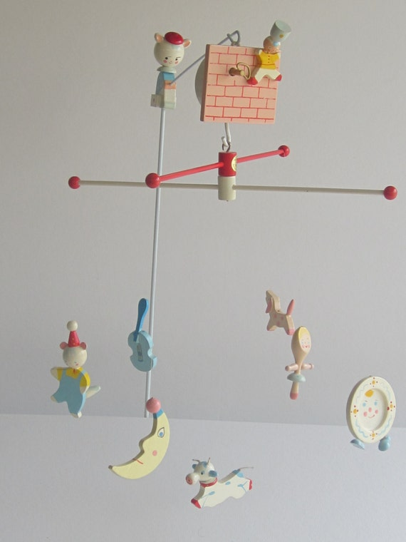 Hand Painted Hey Diddle Diddle Nursery Mobile By Irmi