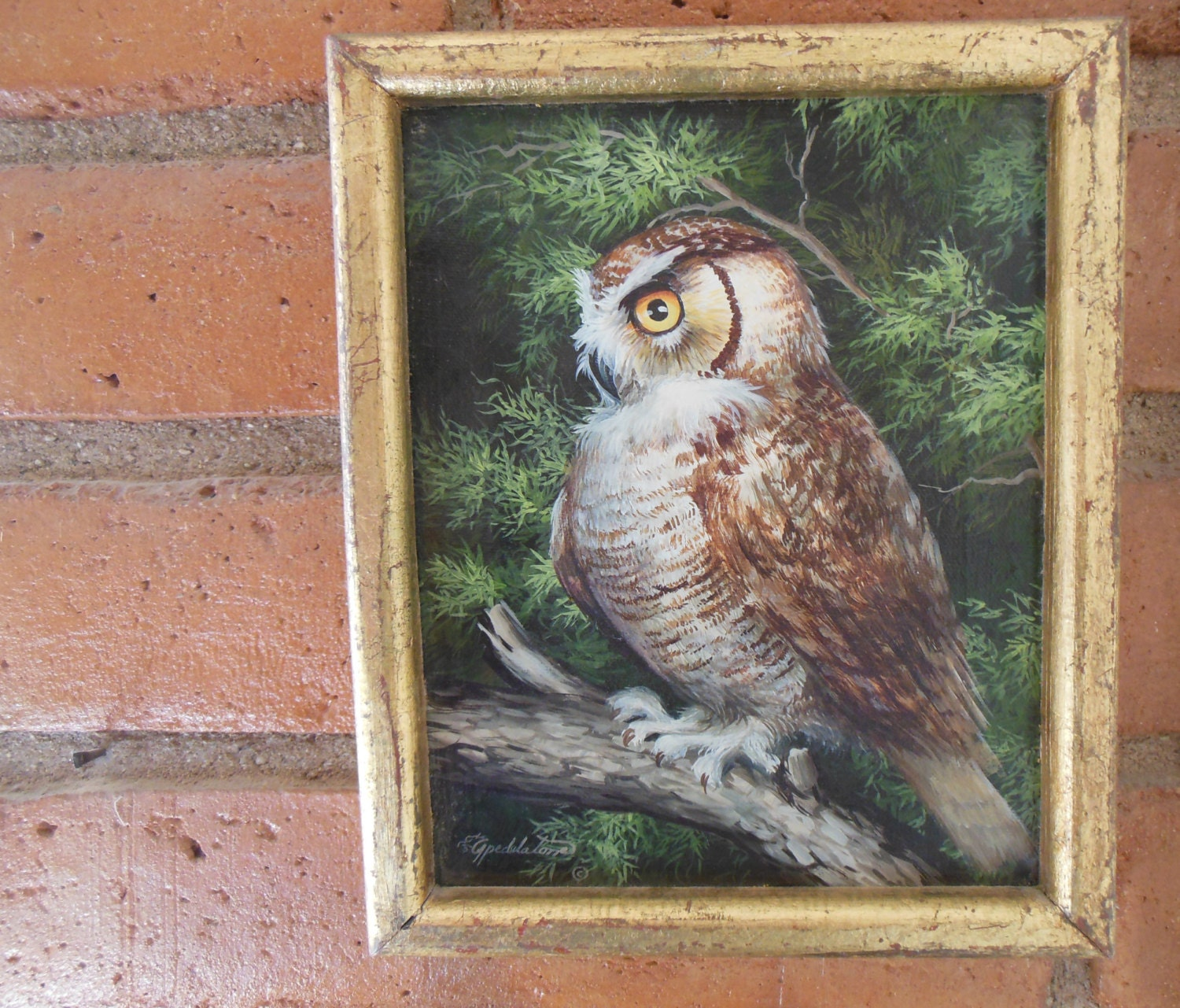 Owl Painting On Canvas Framed Signed Owl In Tree Gold Leaf