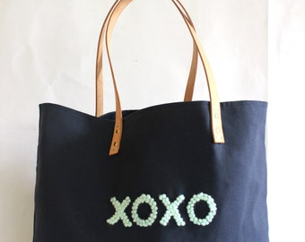 """Canvas Tote...""""XOXO""""  Petite Navy Blue tote bag with PERSONALIZED leather label"""