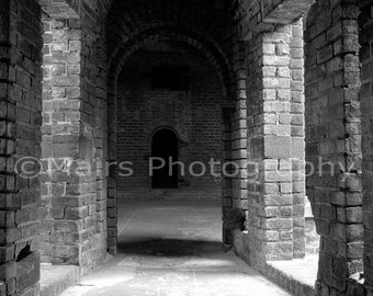 Military Fort Historic Brick Architecture Black & White Archway Tunnel Florida, Fine Art Photography matted, signed 8x12 Original Photograph