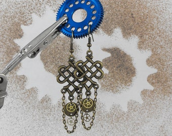 Antiqued Brass Steampunk Dangle Earrings - Tying Knots in Time by COGnitive Creations