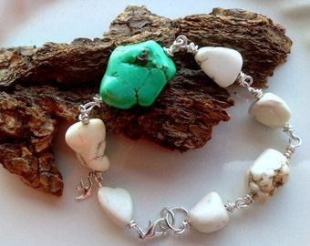 White stone bracelet boho chic bridesmaid sets turquoise shabby chic country stone wire wrapped western cowgirl wedding outdoor rustic