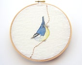 Nuthatch embroidery hoop, art for your wall - PoofyDove
