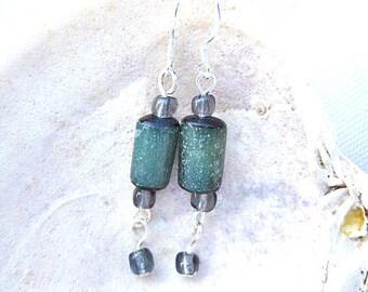 Emerald Green Nut Bead Earrings.   ID 301