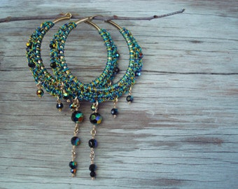 Crochet Wire Set Hoops with Matching Necklace Bracelet or Hair-wrap Three Color Triple Tweeded Wires Midnight Rainbows Handcrafted OOAK