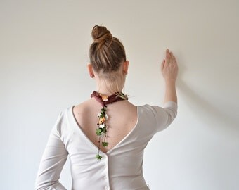 Silk Wrap Scarf, Autumn Leaves Colors Crochet Oya Brown Silk Necklace Beaded Necklace Scarf, ReddApple,