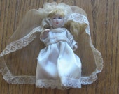 "Miniature Porcelain Jointed 4"" Bride Doll 1960 Era"