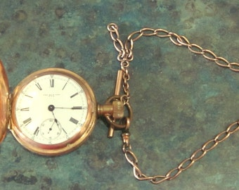 1800's New Era Large 18 Sz Gold Filled 7 Jewel Pocket Watch Train and Simmons Chain Fob