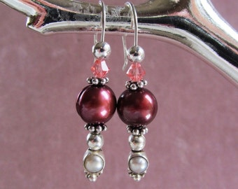 Sterling Silver Stacker Earrings with Freshwater Pearls and Swarovski Crystals
