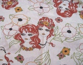 Vintage 70s cotton jersey - Girls and Flowers - very unique - 1.5 yds