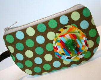 Green Polka Dot Fabric Wristlet, IPhone Wristlet, SmartPhone Wristlet, Zippered Wristlet