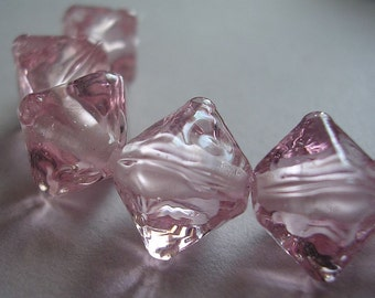Handmade Glass Pink Lampwork Beads Ericabeads Peachy PInk Crystal Spacers (6)