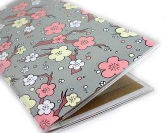 Checkbook Cover - Cherry Blossom - pretty peach and grey sakura floral checkbook holder - pastel spring floral, coral gray vanilla