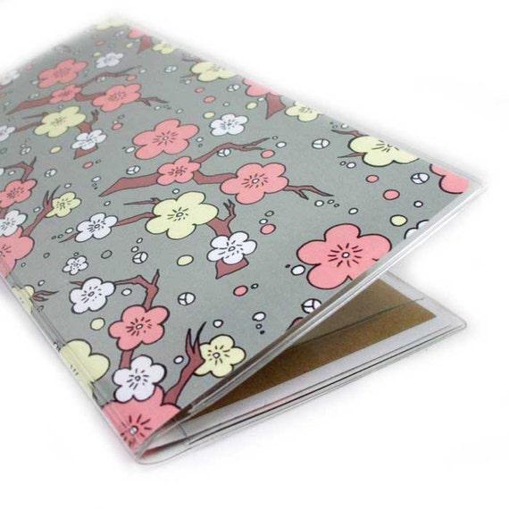 Pretty Checkbook Cover ~ Checkbook cover cherry blossom pretty peach and grey