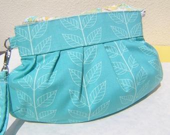 SALE BRIDESMAIDS CLUTCH, Janbag Wristlet, pleated, pocket, travel, cosmetic - Leafy stripe aquatic blue