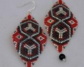 Vampire Kiss - Crimson Beadwoven Earrings