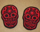 Red and Black Day of the Felt Patches Sew on Cardigan
