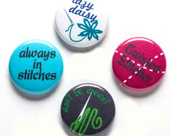 Embroidery Theme Buttons, 1 inch pin back, Twisted Stitcher, Set of 4