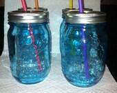 1 Pint Blue Mason Jar Drinking Glasses